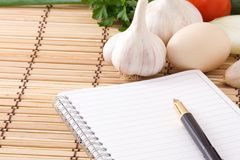 Garlic, egg, onion and pad Stock Photos