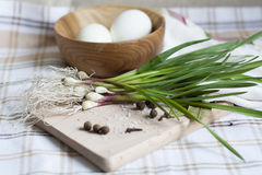 Garlic and eggs. Green garlic, boiled eggs in a wooden bowl and spices stock images