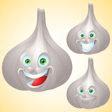 Garlic face expression cartoon character set Royalty Free Stock Photos
