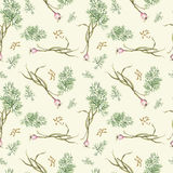 Garlic and fennel. Watercolor pattern of spices on white background Royalty Free Stock Photo