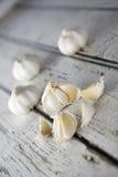 Garlic Cloves. A few Garlic Cloves broken Royalty Free Stock Photo