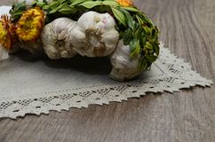 Garlic  with flowers and  linen napkin. Garlic decorated with dried  flowers and  green leaf of the plant ,close up Stock Photos