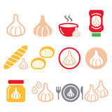 Garlic, food icons set - garlic sauce, soup and bread vector designs Royalty Free Stock Images