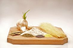 Garlic and food ingredients Stock Photography