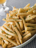 Garlic French Fries with Chives Royalty Free Stock Photos