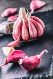 Garlic. Fresh garlic. Red garlic. Garlic press. Violet garlic.Garlic background. garlic bulbs Royalty Free Stock Photos