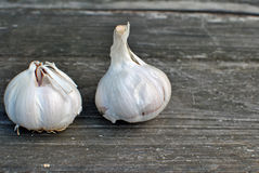 Garlic. Fresh garlic on wooden background stock photography