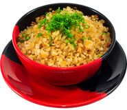 Garlic fried rice. The Isolation japanese traditonal food in the decorated container stock photo