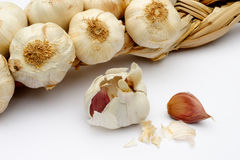 Garlic Garland. Detail of a garlic garland with cloves in the foreground. Focus is on the cloves Royalty Free Stock Photo