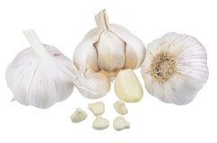 Garlic, garlic cloves and a dietary supplement based on garlic powder Royalty Free Stock Image