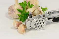 Garlic and a garlic press Royalty Free Stock Photos