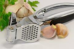 Garlic and a garlic press Stock Images