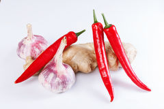 Garlic, ginger, chili Stock Photos