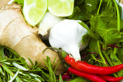 Garlic, ginger, chillies and limes Royalty Free Stock Images