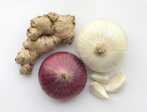 Garlic ginger and onion Stock Images