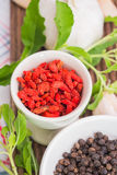 Garlic, Goji berry and Peppers Royalty Free Stock Photo