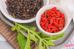 Garlic, Goji berry and Peppers Royalty Free Stock Image