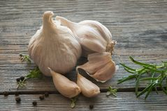 Garlic head on a wooden board Stock Photo