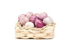 Garlic Heads In A Wicker Basket Stock Photos