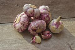 Garlic heads on a wooden background in natural light stock photography