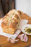 Garlic and herb bread slices Royalty Free Stock Images