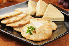 Garlic herb cheese and crackers Royalty Free Stock Photos