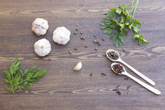 Garlic, herbs and spices. On wooden table royalty free stock photo