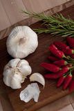 Garlic, hot pepper and rosemary Royalty Free Stock Image