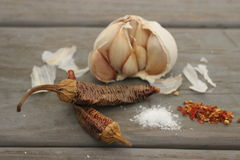 Garlic and hot pepper Stock Image