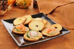 Garlic hummus canapes Royalty Free Stock Photo