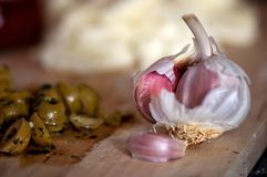 Garlic and ingredients Stock Images