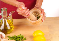Garlic inside a mortar Royalty Free Stock Photo