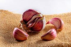 garlic on jute cloth on white background stock photos