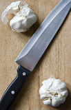 Garlic and knife Stock Image