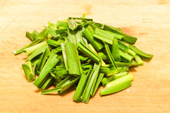 Garlic leaves. Garlic is an ingredient in Chinese food Stock Image