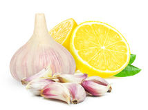 Garlic and lemon Stock Photo