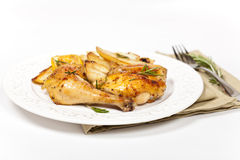 Garlic, Lemon and Rosemary Roasted Chicken Stock Images