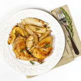 Garlic, Lemon and Rosemary Roasted Chicken Royalty Free Stock Images