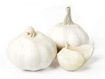 Garlic. Low aperture photo garlic isolated on white Stock Images