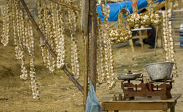 Garlic market. In the Turkish countryside Royalty Free Stock Photo