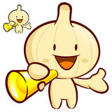 Garlic Mascot the  Left hand is holding a loudspeaker. Vegetable Royalty Free Stock Photos