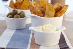 Garlic Mayonnaise for Dipping Stock Photo