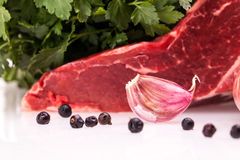 Garlic And Meat - Selective Focus Stock Image