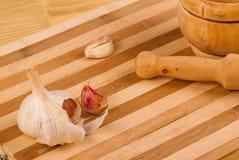 Garlic and mortar Royalty Free Stock Photos