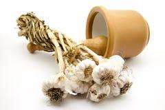 Garlic and mortar Royalty Free Stock Images