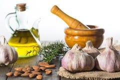 Garlic and mortar Royalty Free Stock Photography