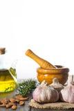 Garlic and mortar Stock Images