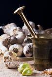 Garlic with mortar and pestle Stock Photos