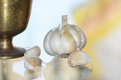 Garlic and Mortar. Garlic, seperated cloves of garlic and Brass Mortar stock image