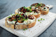 Garlic mushroom toast with creamy herbed ricotta chees spread.  royalty free stock images